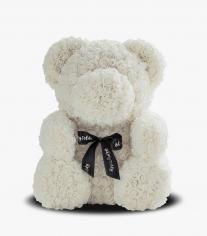 Мишка из роз с сердцем, Белый (в коробке)