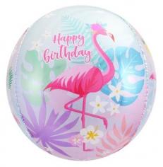 Шар Сфера 3D, С Днем Рождения (фламинго) (в упаковке)