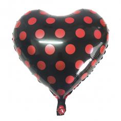 Шар Сердце, Горошек красный, Черный (в упаковке)