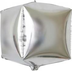 Шар 3D Куб, Серебро (в упаковке)