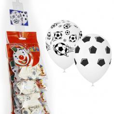Шар на стрип-ленте Футбол, Белый / WHITE (шелк) 5 ст