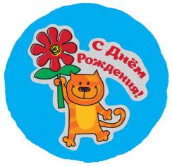 Шар Круг, С Днем рождения (кот с цветком), на русском языке