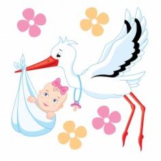 Наклейка на рождение Аист с Девочкой! 20*24 см