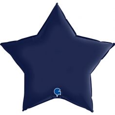 Шар Звезда, Темно-синий, Сатин / Navy Blue (в упаковке)
