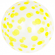 Шар Сфера 3D, Deco Bubble Желтое конфетти, Прозрачный Кристалл / 1 шт