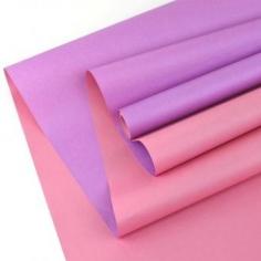 Крафт-бумага белёная двусторонняя Светло Розовый-Сиреневый 50гр. / рулон