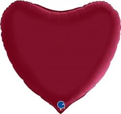 Шар Сердце, Вишневый, Сатин (в упаковке)