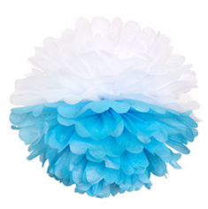 Бумажный помпон Бело-голубой