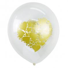 Шар Сердце золото, TRANSPARENT Декоратор (шелк) 2 ст