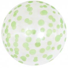 Шар Сфера 3D, Deco Bubble Зеленое конфетти, Прозрачный Кристалл / 1 шт