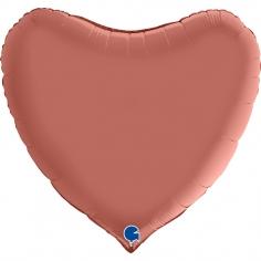 Шар Сердце, Розовое Золото, Сатин / Rose Gold (в упаковке)