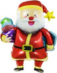 Шар Фигура, Веселый Дед Мороз с подарками (в упаковке)