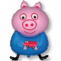 Шар фигура, Поросенок с игрушкой (синий) (в упаковке)