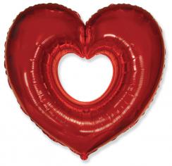 Шар Сердце, Вырубка, Красный / Shape heart (в упаковке)