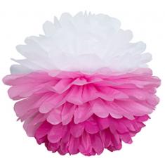 Бумажный помпон Бело-розово-фуксиевый