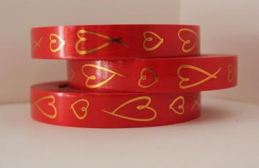 Лента Красная с золотыми Сердцами
