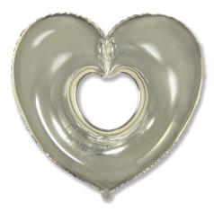 Шар Сердце, Вырубка, Серебро / Shape heart (в упаковке)