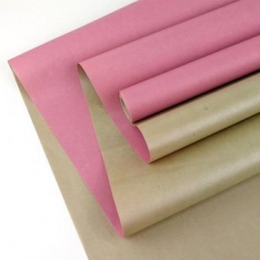 Крафт-бумага белёная двухсторонняя Розовый-Золото 50гр. / рулон