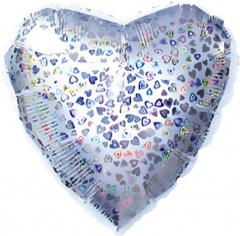 Шар Сердце, Серебро голография / Silver