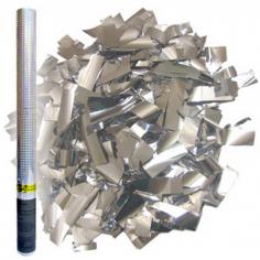 Пневмохлопушка в пластиковой тубе Серебряное конфетти