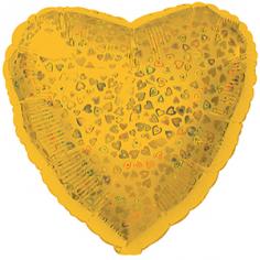 Шар Сердце, Золото голография / Gold