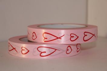 Лента Розовая с красными сердцами