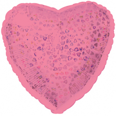 Шар Сердце, Розовый голография / Pink