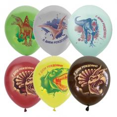 Шар С Днем Рождения Динозавры, Ассорти Пастель+Декоратор 1 ст 2 цв