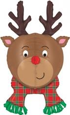 Шар Фигура, Голова, Новогодний олень, Коричневый (в упаковке)