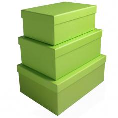 """Набор коробок 3 в 1 """"Однотонный"""" Салатовый / прямоугольник"""