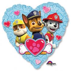Шар Сердце, Щенячий патруль сердце голубое (в упаковке)