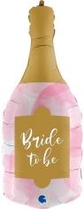 Шар Фигура, Бутылка, Свадебное Шампанское, Розовый (в упаковке)