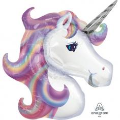 Шар Фигура Единорог Фиолетовый голова (в упаковке)