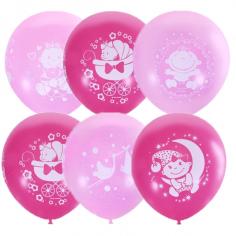 Шар С Днем Рождения Малышка розовое, Ассорти