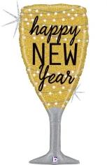 Шар Фигура, Бокал, Новогоднее шампанское, Золото, Голография (в упаковке)