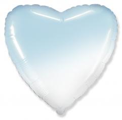 Шар Сердце, Бело-голубой градиент / White-Blue gradient (в упаковке)
