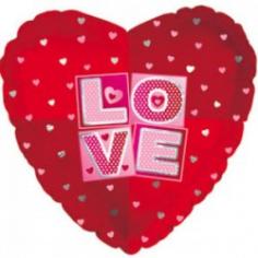 Шар Сердце, Я люблю тебя (квадраты), Красный