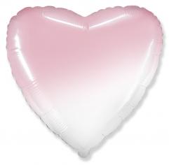 Шар Сердце, Бело-розовый градиент / White-Pink gradient (в упаковке)