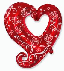 Шар фигура, Розы и сердца / Roses & Hearts (в упаковке)