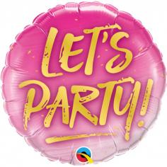 Шар Круг, LET'S PARTY на розовом (в упаковке)