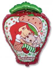 Шар фигура, Девочка-клубничка с котенком / Love Strawberry (в упаковке)