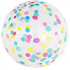 Шар Сфера 3D, Deco Bubble Разноцветное конфетти, Прозрачный Кристалл / 1 шт