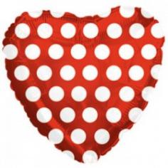 Шар Мини-сердце, В белый горошек, Красный (в упаковке)