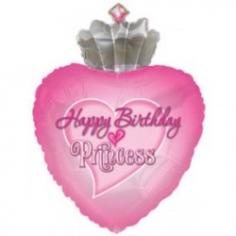 Шар фигура, Сердце С днем рождения принцесса (в упаковке)