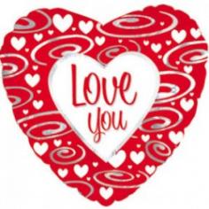 Шар Сердце, Я люблю тебя (серебряные завитки), Красный