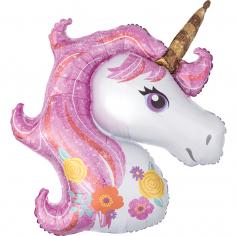 Шар Фигура Волшебный Единорог Голова / Magical Unicorn (в упаковке)