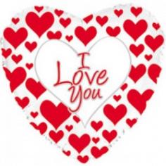 Шар Сердце, Я люблю тебя (простые красные сердечки), Белый