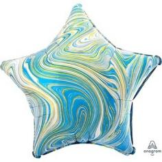 Шар Звезда, Мрамор Blue (в упаковке)