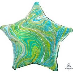 Шар Звезда, Мрамор Blue Green (в упаковке)