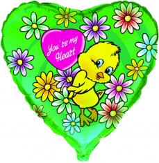Шар Сердце, Цыплёнок с цветами / Love flowers chick